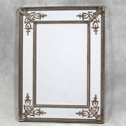 large square silver French mirror great colour bevelled edges with ornate detailing in the corners
