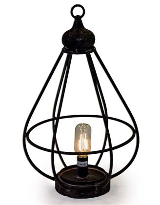 This wonderful small rechargeable LED lantern comes with a 3W bulb and USB cable. 44 x 25 x 25cm. Antiqued iron that is in a cage shape. Completely portable