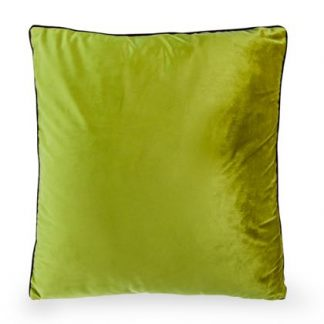 This super simple but stunning plush green velvet cushion is beautifully made and finished. Good detailing and price. 50 x 50cm. Piped edges with gold zip.