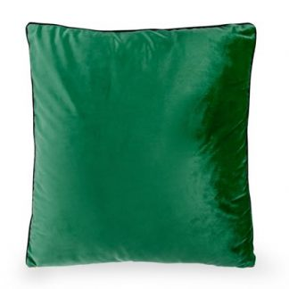This sublime emerald green velvet cushion measures 50 x 50cm. Perfect size for the sofa and great price and quality. Has piped edges and a gold zip.