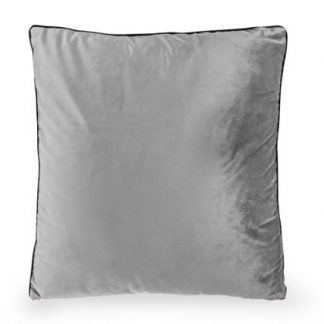 This grey silver velvet cushion with piped edges measures 50 x 50cm. A great size at a great price. Add an easy colour to your home now. Machine washable.