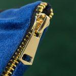zip detail for blue velvet cushion