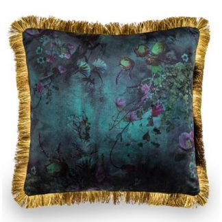 Look at the rich lavish colours in our blue floral cushion. Sumptuous soft velvet and a gold fringe border. Great value and quality. 45 x 45cm