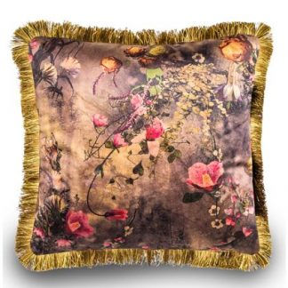 Super pink floral cushion has a wonderful rich pattern with deep pinks and orange. Lavish gold fringe border around the soft velvet material. 45 x 45cm