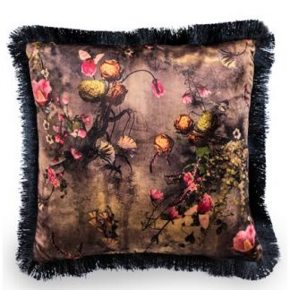 This black pink floral cushion has a lovely pattern that is enhanced by the black fringed edge. Highlights of pink and orange. 45 x 45cm. Great value too!