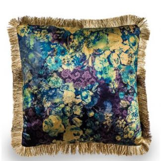 This teal floral cushion is super soft velvet. So stylish with a great rich pattern and champagne fringe. 45 x 45cm. Great value for a new different style.