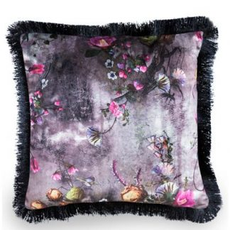 This superb grey floral cushion has a sumptuous black fringe. Purple and pink tones in the distinctive velvet patterned material. 45 x 45cm. Great value!
