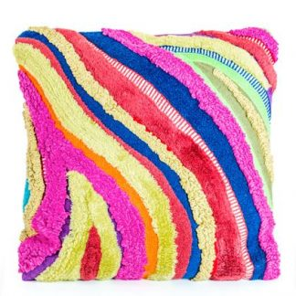 Loud and proud multicoloured patchwork 45cm cushion. Made from recycled textiles that make a wavy pattern of different textures. 45 x 45cm