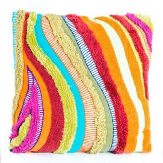Loud and proud multicoloured patchwork cushion. Made from recycled textiles that make a wavy pattern of different textures. 45 x 45cm