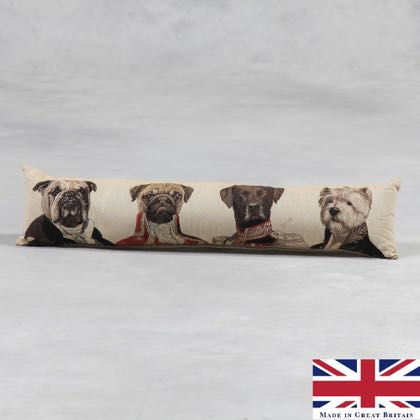 Dog Draught Excluder featuring a Pug, a Labrador, a Westie and a Bulldog. Stunning quality Belgian woven tapestry draught excluder. 100 x 12 x 12cm
