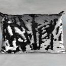 rectangular black silver sequin cushion that is 2 tone
