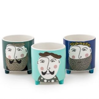 Set of 3 hipster gent ceramic pots. Each has a different face of a bearded dude on. Cartoon style, perfect for any home. 15 x 14 x 14cm.