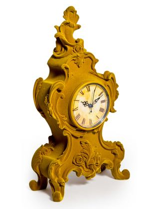 Super flock yellow ornate clock. Traditional mantle clock with a twist or 2! Its colour and fabric are super touchy feely. 22 x 42 x 11cm