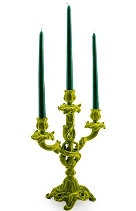 Add a special something to your dining or living room with this vibrant green flock candlestick! Unique, funky, super value! 35 x 30 x 13cm.