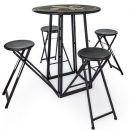 This ingenious folding bar table comes flat packed with 4 stools. Easily opened. Great in the garden. Fab value ! Metal painted matt black 102 x 77 x 77 cm