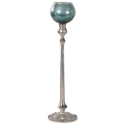 This tall green tealight holder is a beauty! It's size, style, finish and it's colour are WOW! A great dining centrepiece or in the fireplace 53 x 12 x 12cm