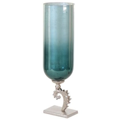 This medium teal candleholder is a real beauty. Colour, shape, finish and detailing all enhance each other A great gift for a loved one. 55 x 15 x 15cm