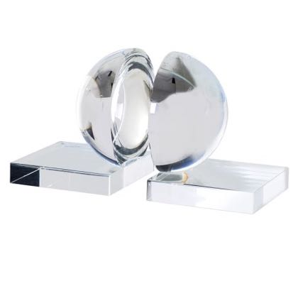 This uber stylish pair of glass crystal ball bookends measure 13 x 12 x 11cm. They make the perfect gift and are great value for money too.