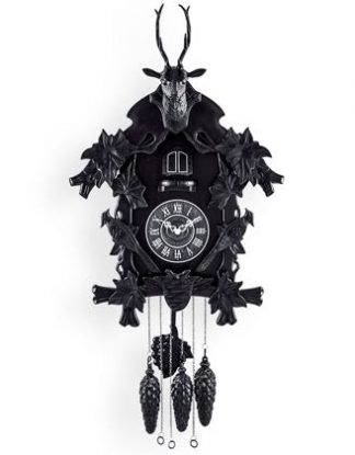 "This supremely kitsch black cuckoo clock is wonderful. ""Cuckoo"" every hour and watch the birdy! Made of plastic. Great Value 56 x 44 x 17cm. 2 x D batteries."