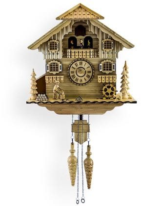 Wonderfully crafted wooden bavarian cuckoo clock. Made of light coloured wood, with moving figures and a singing cuckoo. 39 x 39 x 18cm. Great gift.