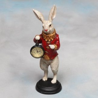 white rabbit clock ornament Alice in Wonderland white rabbit holding a pocket watch style clock ornament measures 35 x 11 x 11cm . Made of resin hand painted and finished