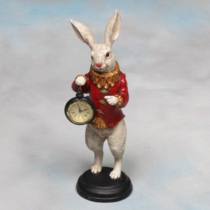 White Rabbit Clock Ornament Alice In Wonderland Small