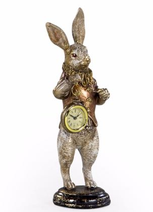 This gold white rabbit clock is straight from Alice in Wonderland! Wonderful colour, style, quality and finish! 35 x 11 x 11cm. Value for money.