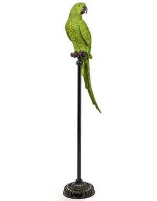 This amazing vibrant large green parrot ornament looks so alive! Pedro is on a floor standing perch. Made of resin and hand finished. H116 x W25 x D23cm.