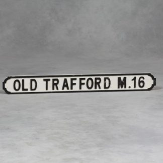 Stylish aged wooden old trafford road sign. Perfect for both indoors and outdoors. Dimensions are 15 x 122 x 2.5 centimetres
