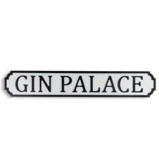 Pop this Gin Palace road sign up on the summerhouse wall or in the kitchen for a fun finishing touch. A perfect gift for any gin lover! 73 x 12 x 2cm