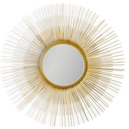 This stunning gold sunburst round wall mirror will make a super focal point. A small central mirror with gold painted spines radiate out. 79 x 79 x 3cm
