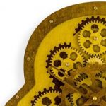 This moving gears wooden clock is shaped like a head. A 70's vibe with layers of different woods and moving cogs of his mind!  30 x 29 x 8cm(2x C batteries)