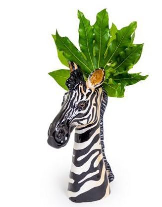 Meet Zig our zany ceramic zebra vase. Long elegant lines, superb colour and detail make a wonderful gift! Glossy smooth glaze. A must have! 38 x 12 x 24cm