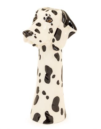 Dotty, our dalmatian dog head vase is made from ceramic with hand painted markings and a super high gloss smooth glaze finish.H36 x W15 x D17cm. Great gift!