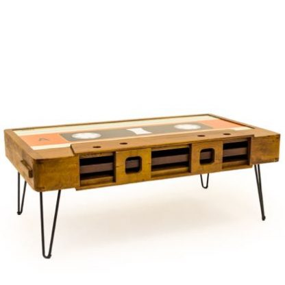 This quirky cassette coffee table is unique, designed to jazz up your living space. Wood veneered, retro detailing, metail hairpin legs. 40 x 110 x 60cm