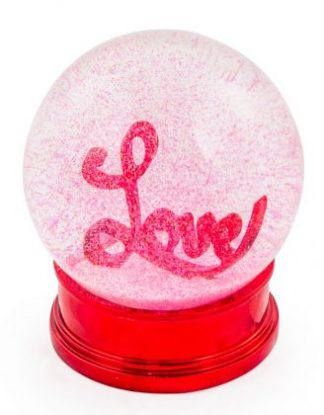 This red snow globe is filled with red glitter and the word Love, measures 12.5 x 10 x 10cm