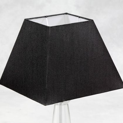 This marvellous large black square silk shade is a contemporary shape and colour but is a new classic. The outer is matt black with thread detailing and the inner is a shiny white. Measures 29 x 38 x 38cm great value too.
