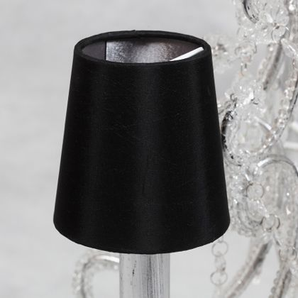 Brighten up your wall lights with our black silver candle shade. Matt black on the outside and a shiny silver on the inside. Measures 10 x 10 x 10cm. Great quality and value for money.