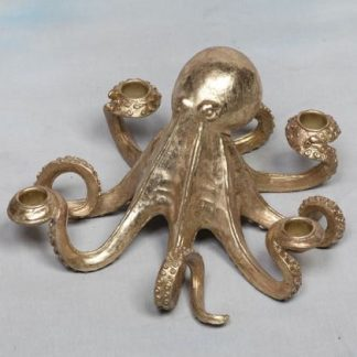 gold octopus candle holder that can hold 4 standard candles. Measures 14 x 28 x 28cm