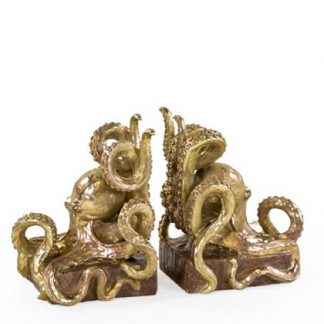 painted gold octopus bookends each measures 20 x 13 x 14cm