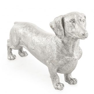 This sublime silver dachshund dog ornament is small but perfectly formed. Great textured detailing and value for money. Perfect gift, 24 x 44 x 11cm