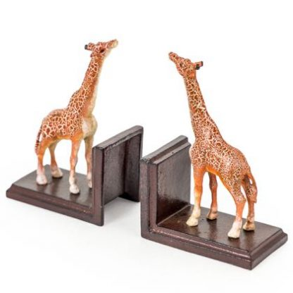 This cast iron giraffe bookends ornament is perfectly styled and detailed. Painted iron. Weighty and practical. H19 x W13 x D9cm each. Great gift.