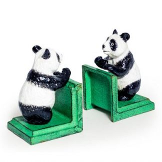 This cast iron panda bookends ornament is perfectly styled and detailed. Painted, weighty and practical. H9 x W15 x D9cm each. Great gift.