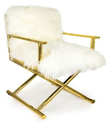This super soft luxurious furry director chair is from the 1970's. The arms and legs are super smooth shiny polished brass. 80.5 x 66 x 67.5cm (52cm seat)