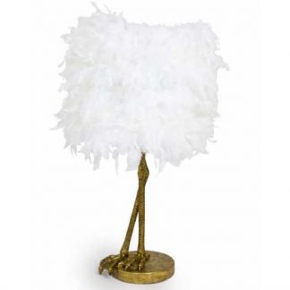 The pair of gold painted bird legs have a stunning fluffy white feather drum shade on top! Measures 79 x 40 x 40 cm . Super quality and value.