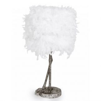 Feather silver legs lamp, features a pair of silver painted birds legs as the base with a white feather drum shade above. 79 x 40 x 40cm