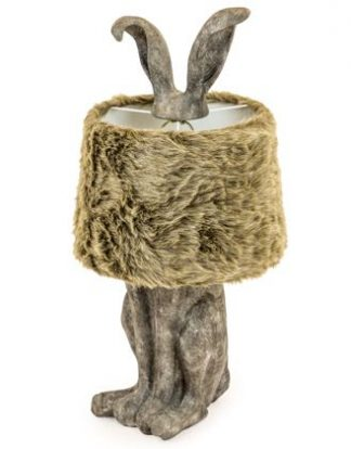 This fun and stylish rabbit hare ears lamp adds a quirky touch to any home. Grey painted resin with faux fur shade this is wonderful! H77 x W36 x D36cm.