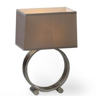 chrome ring table lamp has 3 chrome rings on a base with a rectangular hard taupe coloured shade measures 60 x 40 x 25cm