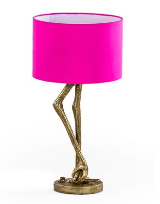 pink flamingo legs lamp has a gold base with a bright pink shade onto measures 55 x 31 x 31cm