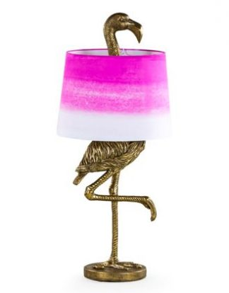 pink flamingo table lamp with gold paint finish to the legs below and the head above the pink and white shade